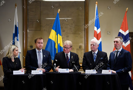 (L-R) Denmark's Minister of Defence Trine Bramsen, Finland?s Minister of Defence Antti Kaikkonen, Sweden's Minister of Defence Peter Hultqvist, Director General of the Defence Directorate at Iceland's Ministry for Foreign Affairs Arnor Sigurjonsson and Norway?s Minister of Defence Frank Bakke-Jensen during a press conference in connection with the Nordic defence minister meeting within the framework of the common Nordic Defence Cooperation (NORDEFCO) in Stockholm, Sweden, 19 November 2019.