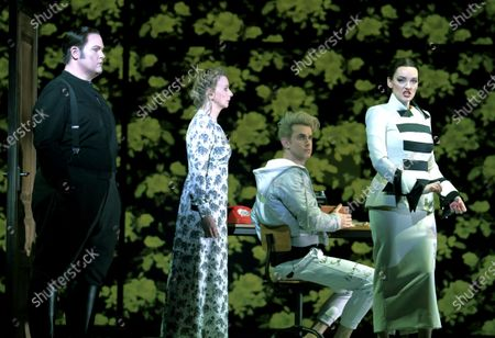 Stock Image of Nicky Spence as Heurtebise,  Sarah Tynan as Eurydice, Anthony Gregory as Cegeste, Jennifer France as Princess,