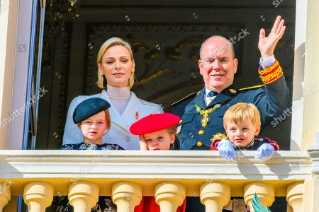 Princess Charlene, Prince Albert II, Prince Jacques and Princess Gabriella