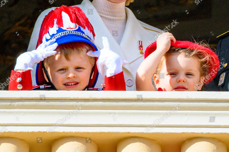 Prince Jacques and Princess Gabriella of Monaco during the Army Parade, as part of the official celebrations marking the principality's National Day 2019 at the Monaco Palace, in Monaco.