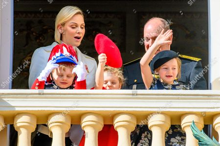 Princess Charlene, Prince Albert II, Prince Jacques, Princess Gabriella and Kaia Rose Wittstock