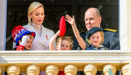 Stock Picture of Princess Charlene, Prince Albert II, Prince Jacques, Princess Gabriella and Kaia Rose Wittstock