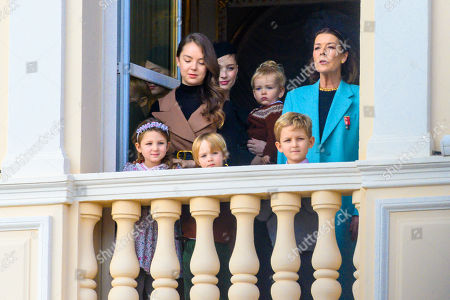 Stock Photo of Princess Caroline of Hanover, Princess Alexandra of Hanover, India Casiraghi, Alexander Casiraghi and Francesco Casiraghi