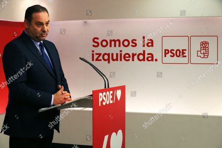 Spanish acting Public Works Minister and Socialist Party's Organization Secretary Jose Luis Abalos attends a press conference after the sentence of the so-called ERE trial, one of the biggest corruption cases in the country, in Madrid, Spain, 19 November 2019. Abalos said that the sentence 'does not affect the current Government or the current address of the PSOE'. The Seville Audience sentenced six years in prison to Antonio Grinan for crimes of embezzlement and prevarication and nine years of political disqualification for prevailing to Manuel Chaves. Andalusian former regional presidents Manuel Chaves and Antonio Grinan are two of the 21 former top-rank officers of Andalusian regional government who are accused of being involved in the regional employment regulation scandal so-called ERE case. The court investigated the alleged plot for the illegal concession of public funds by means of fake labor force adjustment plans.