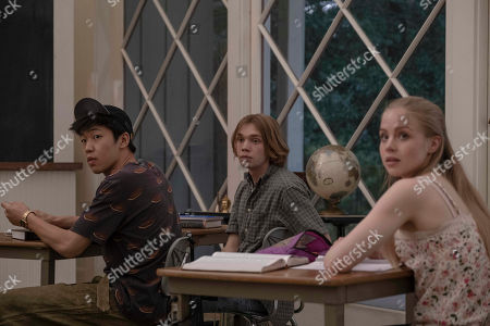 Jay Lee as Takumi, Charlie Plummer as Miles Halter and Sofia Vassilieva as Lara Buterskaya