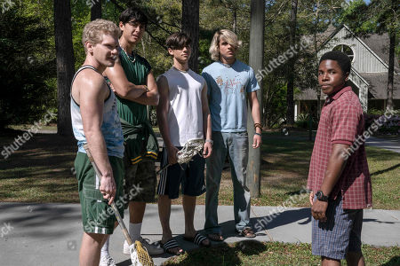Stock Picture of Brandon Stanley as Paul, Jordon Connor as Kevin, Uriah Shelton as Longwell, CG Lewis as Hank Walsten and Denny Love as The Colonel