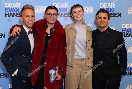 Stock Image of Justin Paul, Toby Marlow, Lucy Moss and Benj Pasek