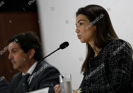 Prosecutor Marisa Ferrari speaks during a press conference about the investigation into kickbacks and money laundering that they say involve Paraguay's former President Horacio Cartes, at the Federal Police headquarters, in Rio de Janeiro, Brazil, . On Tuesday, Brazilian authorities alleged Cartes provided $500,000 to a criminal organization at the request of Dario Messer, a Brazilian associate who was then a fugitive facing corruption charges, prosecutors told reporters