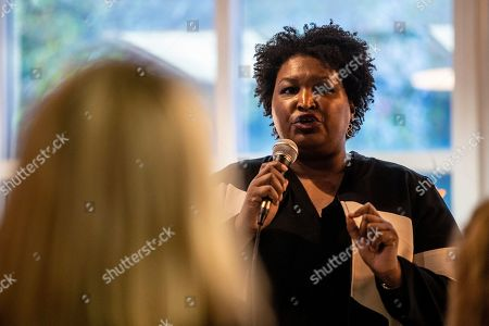 Stacey Abrams speaks at voter supression summit in Atlanta. Politician and author Stacey Abrams speaks to an audience about voter supresssion, in Atlanta. Abrams spoke during a roundtable summit as one in a series of events leading up athe Democratic debate to be held in Atlanta. Abrams' failed bid for Georgia's governor's seat was highlighted by allegations of voter suppression