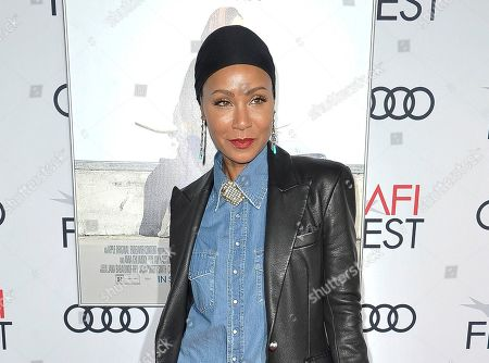"""Jada Pinkett Smith at the premiere of """"Hala"""" at 2019 AFI Fest in Los Angeles. Pinkett Smith says she's very comfortable sharing personal information on her show """"Red Table Talk,"""" and she says she expects to do a lot more in future episodes"""