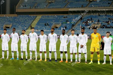 Players of Saudi Arabia line up during the International Friendly soccer match between Saudi Arabia and Paraguay at Prince Faisal bin Fahd Stadium, Al-Riyadh, Saudi Arabia, 19 November 2019.
