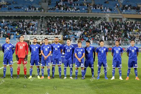 Stock Image of Players of Paraguay line up  prior the International Friendly soccer match between Saudi Arabia and Paraguay at Prince Faisal bin Fahd Stadium, Al-Riyadh, Saudi Arabia, 19 November 2019.
