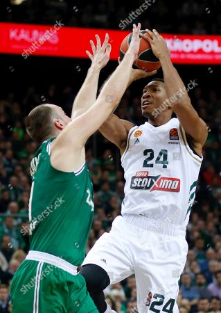 Arturas Milaknis (L) of Zalgiris Kaunas and Wesley Johnson of Panathinaikos OPAP Athens in action during the Euroleague basketball match between Zalgiris Kaunas and Panathinaikos OPAP Athens in Kaunas, Lithuania, 19 November2019.