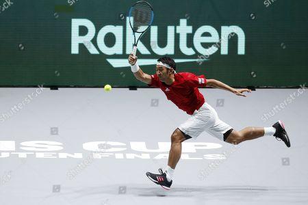 Yasutaka Uchiyama of Japan in action during the singles match against Jo-Wilfried Tsonga of France