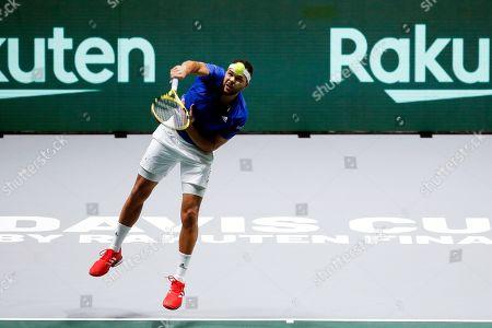 Jo-Wilfried Tsonga of France in action during the singles match against Yasutaka Uchiyama of Japan