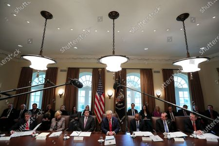United States President Donald Trump speaks during a Cabinet Meeting in the Cabinet Room of the White House in Washington, DC. From left to right: US Secretary of Energy Rick Perry, US Secretary of Education Betsy DeVos, US Secretary of Veterans Affairs (VA) Robert Wilkie, The President, US Secretary of Housing and Urban Development (HUD) Ben Carson, US Secretary of Health and Human Services (HHS) Alex Azar.