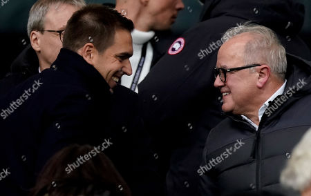 Former German national soccer player Philipp Lahm and German soccer federation DFB President Fritz Keller during the UEFA Euro 2020 Group C qualifying soccer match between Germany and Northern Ireland in Frankfurt, Germany, 19 November 2019.