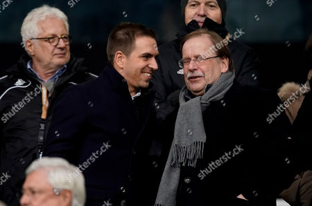 Former German national soccer player Philipp Lahm and DFB vice president for amateur soccer, Rainer Koch during the UEFA Euro 2020 Group C qualifying soccer match between Germany and Northern Ireland in Frankfurt, Germany, 19 November 2019.