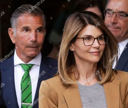 Lori Loughlin, Mossimo Giannulli. Actress Lori Loughlin, front, and husband, clothing designer Mossimo Giannulli, left, leave federal court in Boston after facing charges in a nationwide college admissions bribery scandal. The couple are fighting expanded charges against them in the college admissions bribery scandal. Their lawyers have entered not guilty pleas on their behalf, to charges of conspiracy to commit federal program bribery