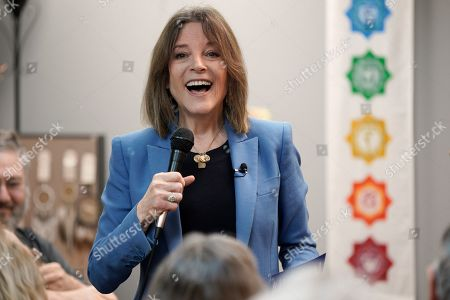 Democratic presidential candidate author Marianne Williamson addresses her audience during an election stop at the Next Millennium Books & Gifts store in Omaha, Neb