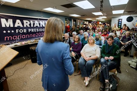 Democratic presidential candidate and author Marianne Williamson addresses her audience during an election stop at the Next Millennium Books & Gifts store in Omaha, Neb