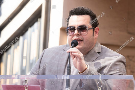 Josh Gad delivers a speech as US actresses Kristen Bell (unseen) and Idina Menzel (unseen) are honored with the 2,681st and 2682nd stars on the Hollywood Walk of Fame in Hollywood, California, USA, 19 November 2019. The stars were dedicated in the category of Motion Pictures and Live Theater/Performance.