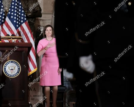 House Speaker Nancy Pelosi of Calif., delivers remarks during a ceremony to unveil a portrait honoring former House Speaker John Boehner on Capitol Hill, in Washington