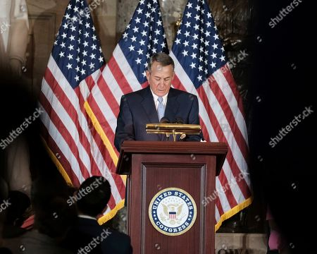 Stock Picture of Former Speaker of the House John Boehner delivers remarks at a ceremony to unveil a portrait of himself on Capitol Hill, in Washington