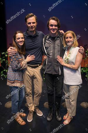 Lucy Anderson (Zoe Murphy), Rupert Young (Larry Murphy), Doug Collin (Connor Murphy) and Lauren Ward (Cynthia Murphy) backstage