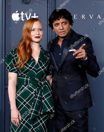 M. Night Shyamalan (R) and cast member US actress Lauren Ambrose pose at the AppleTV+ global premiere event for the television show Servant at BAM Howard Gilman Opera House in New York, USA, 19 November 2019.