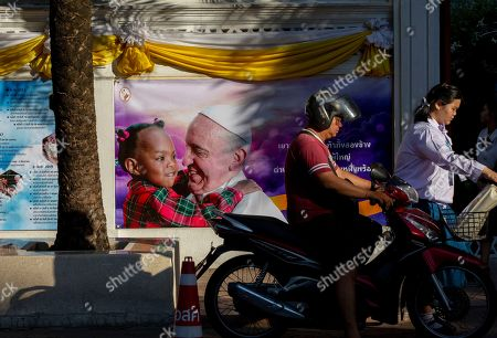 Walls of the Assumption convent are decorated with posters of Pope Francis in Bangkok, Thailand, . Pope Francis arrives in Thailand on Wednesday for the first visit here by the head of the Roman Catholic Church since St. John Paul II in 1984