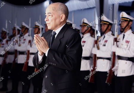 Stock Image of Cambodia's King Norodom Sihamoni (R) attends Princess Norodom Buppha Devi funeral rites, one of late King Norodom Sihanouk's daughters, in Phnom Penh, Cambodia, 20 November 2019. Cambodia's Royal Palace announced on 18 November that Princess Norodom Buppha Devi died aged 76 at a hospital in Thailand. She served as Cambodia's minister of culture from 1998 to 2004.
