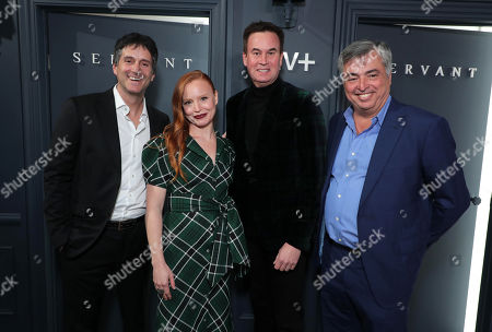 Jamie Erlicht, Head of Worldwide Video for Apple, Lauren Ambrose, Zack Van Amburg, Head of Worldwide Video for Apple, and Eddy Cue, SVP Internet Software and Services for Apple, attend 'Servant' New York Premiere at BAM Howard Gilman Opera House on November 19, 2019 in Brooklyn. 'Servant' premieres exclusively on Apple TV+ on November 28.