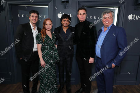 Jamie Erlicht, Head of Worldwide Video for Apple, Lauren Ambrose, M Night Shyamalan, Director/Executive Producer, Zack Van Amburg, Head of Worldwide Video for Apple, and Eddy Cue, SVP Internet Software and Services for Apple, attend 'Servant' New York Premiere at BAM Howard Gilman Opera House on November 19, 2019 in Brooklyn. 'Servant' premieres exclusively on Apple TV+ on November 28.