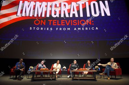 """Gina Yashere, Nathan Varni, Noelle Stewart, Nico Santos, Melinna Bobadilla, Jacob Soboroff. Gina Yashere of """"Bob Hearts Abishola,"""" from left, Nathan Varni, Director of Current Programming at ABC Television, Noelle Stewart from Define American, Nico Santos of """"Superstore,"""" Melinna Bobadilla of """"Orange is the New Black"""" and """"Little America,"""" and Jacob Soboroff, NBC and MSNBC News Correspondent, all took part in the insightful panel discussion """"Immigration on Television: Stories from America"""" presented at the Wolf Theatre, at the Saban Media Center in North Hollywood, Calif"""