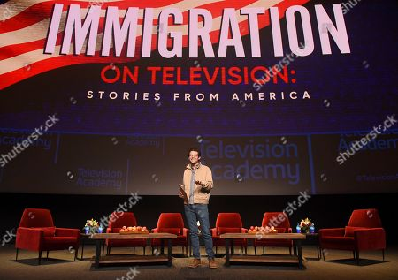 """Stock Picture of Jacob Soboroff, NBC and MSNBC News Correspondent, moderates the panel discussion """"Immigration on Television: Stories from America"""" presented at the Wolf Theatre, at the Saban Media Center in North Hollywood, Calif"""