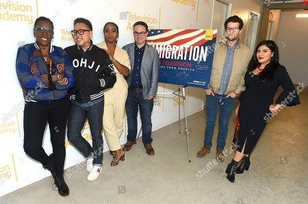 """Gina Yashere, Nico Santos, Noelle Stewart, Nathan Varni, Jacob Soboroff, Melinna Bobadilla. Gina Yashere of """"Bob Hearts Abishola,"""" from left, Nico Santos of """"Superstore,"""" Noelle Stewart from Define American, Nathan Varni, Director of Current Programming at ABC Television, Jacob Soboroff, NBC and MSNBC News Correspondent, and Melinna Bobadilla of """"Orange is the New Black"""" and """"Little America,"""" all took part in the panel discussion """"Immigration on Television: Stories from America"""" presented at the Wolf Theatre, at the Saban Media Center in North Hollywood, Calif"""