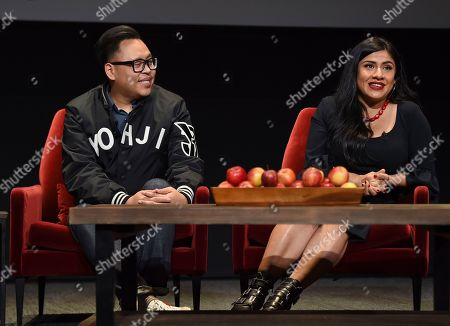 """Nico Santos, Melinna Bobadilla. Nico Santos of """"Superstore,"""" left, and Melinna Bobadilla of """"Orange is the New Black"""" and """"Little America,"""" take part in the insightful panel discussion """"Immigration on Television: Stories from America"""" presented at the Wolf Theatre, at the Saban Media Center in North Hollywood, Calif"""