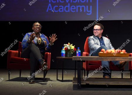 """Stock Image of Gina Yashere, Nathan Varni. Gina Yashere of """"Bob Hearts Abishola,"""" left, and Nathan Varni, Director of Current Programming at ABC Television, take part in the insightful panel discussion """"Immigration on Television: Stories from America"""" presented at the Wolf Theatre, at the Saban Media Center in North Hollywood, Calif"""