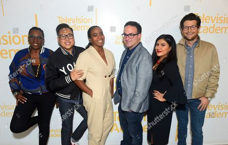"""Stock Picture of Gina Yashere, Nico Santos, Noelle Stewart, Nathan Varni, Jacob Soboroff, Melinna Bobadilla. Gina Yashere of """"Bob Hearts Abishola,"""" from left, Nico Santos of """"Superstore,"""" Noelle Stewart from Define American, Nathan Varni, Director of Current Programming at ABC Television, Melinna Bobadilla of """"Orange is the New Black"""" and """"Little America,"""" and Jacob Soboroff, NBC and MSNBC News Correspondent, all took part in the panel discussion """"Immigration on Television: Stories from America"""" presented at the Wolf Theatre, at the Saban Media Center in North Hollywood, Calif"""
