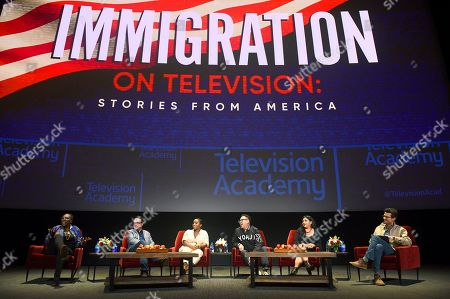 """Stock Photo of Gina Yashere, Nathan Varni, Noelle Stewart, Nico Santos, Melinna Bobadilla, Jacob Soboroff. Gina Yashere of """"Bob Hearts Abishola,"""" from left, Nathan Varni, Director of Current Programming at ABC Television, Noelle Stewart from Define American, Nico Santos of """"Superstore,"""" Melinna Bobadilla of """"Orange is the New Black"""" and """"Little America,"""" and Jacob Soboroff, NBC and MSNBC News Correspondent, all took part in the insightful panel discussion """"Immigration on Television: Stories from America"""" presented at the Wolf Theatre, at the Saban Media Center in North Hollywood, Calif"""