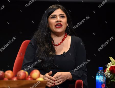 """Melinna Bobadilla of """"Orange is the New Black"""" and """"Little America,"""" takes part in the insightful panel discussion """"Immigration on Television: Stories from America"""" presented at the Wolf Theatre, at the Saban Media Center in North Hollywood, Calif"""