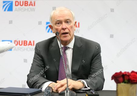 Tim Clark, President of Emirates Airline talks to media during signing an agreement with Boeing at the Dubai Airshow 2019 at Dubai World Central - Al Maktoum International Airport, in Jebel Ali, Dubai, United Arab Emirates, 20 November 2019.