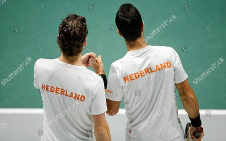 Wesley Koolhof and Jean-Julien Rojer of Netherlands celebrate versus GBR