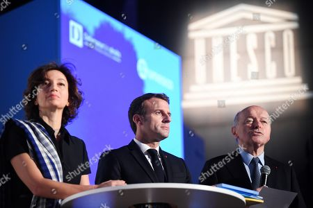 UNESCO Director-General Audrey Azoulay (L), French President Emmanuel Macron (C) look on as French Ombudsman (Defenseur des droits) Jacques Toubon speaks during the 30th anniversary of the Convention on the Rights of the Child (UNCRC) at the UNESCO in Paris, France, 20 November 2019.