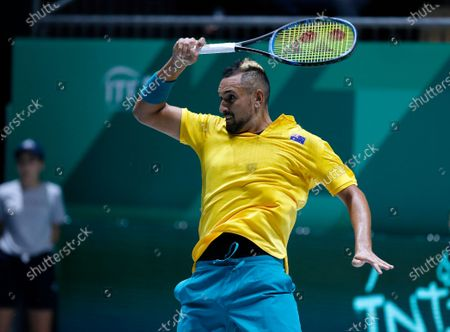 Nick Kyrgios of Australia plays a forehand against Alejandro Gonzalez of Colombia