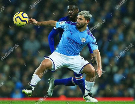 Stock Image of Sergio Aguero of Manchester City and Fikayo Tomori of Chelsea