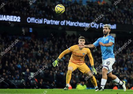 Sergio Aguero of Manchester City and Chelsea goalkeeper Kepa Arrizabalaga