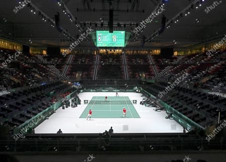 Japan's Yasutaka Uchiyama (front L) and Ben McLachlan (front R) in action against Serbia's Janko Tipsarevic and Viktor Troicki (back) during their doubles match in the group stage tie between Serbia and Japan at the Davis Cup Finals tennis tournament at the Caja Magica facilities in Madrid, Spain, 20 November 2019.