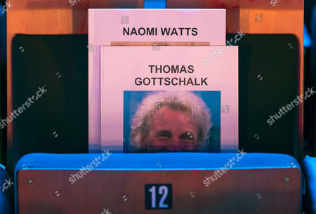 A view of the place holder card for German entertainer Thomas Gottschalk during preparations for the gala of German media prize Bambi at the festival theater in Baden-Baden, Germany, 20 November 2019. The award ceremony by publisher Burda will take place for the 71st time on 21 November 2019.
